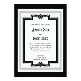 Black White Silver Art Deco Wedding Invitation