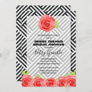 Black White Stripe Rose Derby Bridal Shower Invite