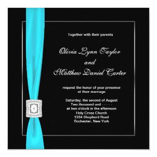 Black White Teal Blue Teal Bow Wedding Invitation