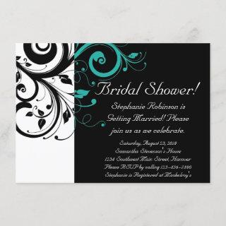 Black White Teal Reverse Swirl Bridal Shower Invitations