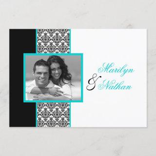 Black White Turquoise Damask Photo Wedding Invite