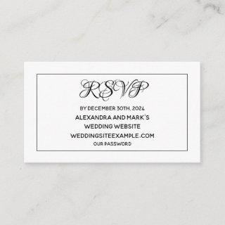 Black White Wedding Site RSVP Card