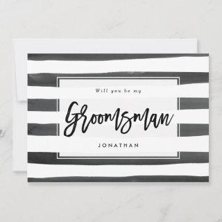 black white will you be my groomsman proposal card