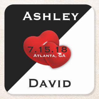 Black White with Red Heart Save The Date Coaster