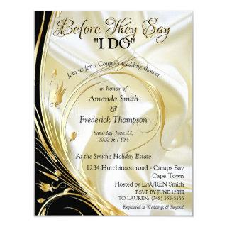 Black with Gold on Champagne Silk Couple Shower Invitation