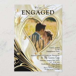 Black with Gold on Champagne Silk Engagement
