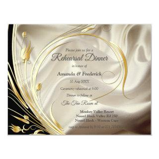Black with Gold on Champagne Silk Invitations