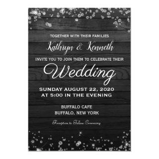 Black Wood Diamonds Wedding Invitation