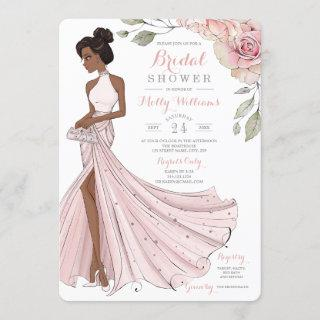 Blingy African American Bride Bridal Shower Invitations