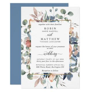 Blissful Floral Dusty Blue and Greenery Wedding Invitations