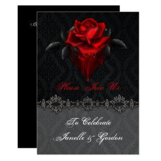 Blood Red Roses Black Damask Reception Only Invitations