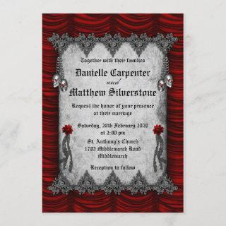 Blood Roses and Silk Red Gothic Wedding Invitations