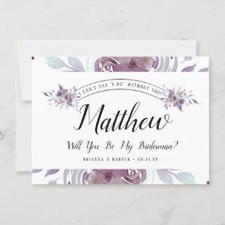Blooming Amethyst Floral Bridesman Proposal Card