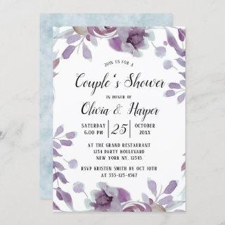 Blooming Amethyst Floral Couple's Wedding Shower Invitations