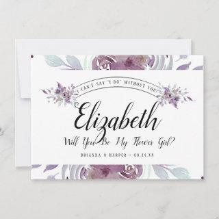 Blooming Amethyst Floral Flower Girl Proposal Card