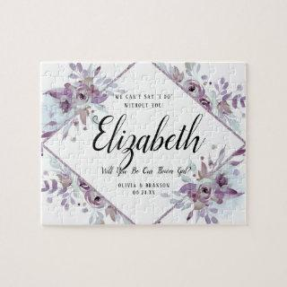 Blooming Amethyst Floral Flower Girl Proposal Jigsaw Puzzle