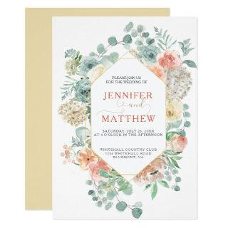 Blooming Apricot Geometric - Soft Gold Background Invitations