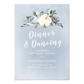 Blooming botanical dusty blue floral reception Invitations
