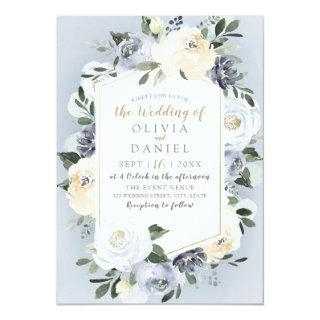 Blooming botanical dusty blue floral wedding invitation
