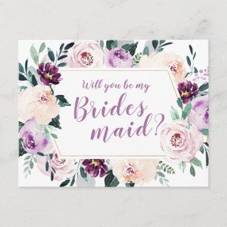 Blooming botanical Will you be my bridesmaid Invitations