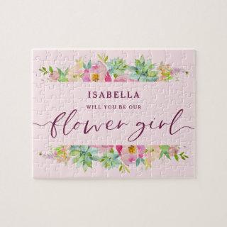 Blooming Chic Floral Be Our Flower Girl Proposal Jigsaw Puzzle