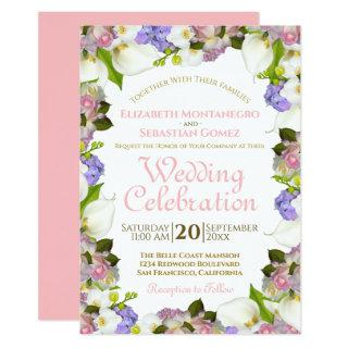 Blooming Spring Pastel Floral Frame Wedding Invitations