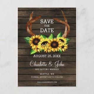 blooming sunflowers antlers country chic wedding announcement postcard