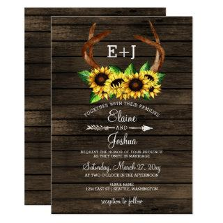 Blooming Sunflowers Antlers Country Chic Wedding Invitation