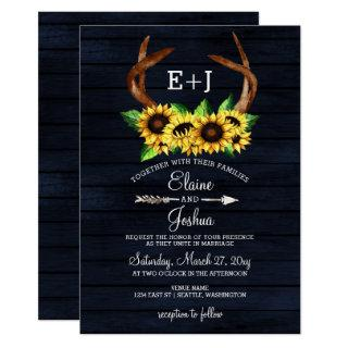 Blooming Sunflowers Antlers Country Chic Wedding Invitations