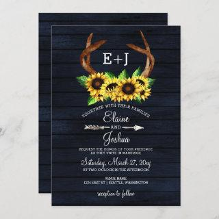 Blooming Sunflowers Antlers Country Chic Wedding