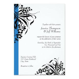 Blue and Black Flourish Wedding Invitations