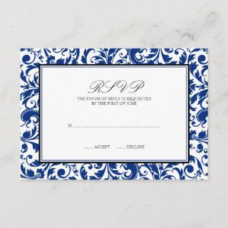Blue and Black Swirl Damask Wedding Response Card