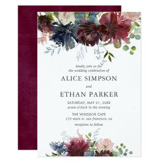 Blue And Burgundy Watercolor Floral Wedding Invitation