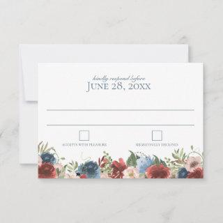 Blue and Burgundy Watercolor Wedding Response