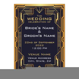 Blue and Gold Art Deco Wedding Invitation