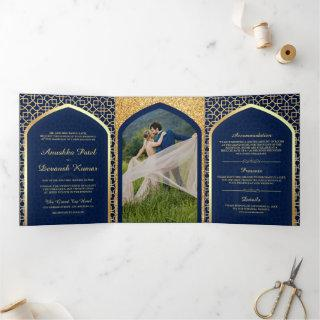 Blue and Gold Bollywood Style Indian Wedding Tri-Fold Invitation