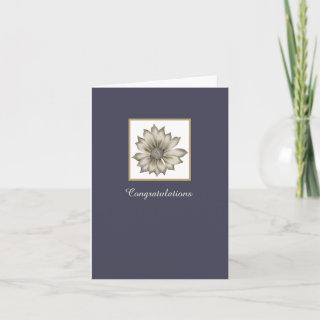 Blue and Ivory Floral Custom Wedding Greeting Card
