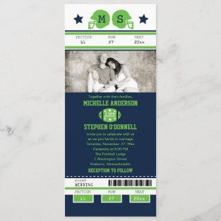 Blue and Lime Green Football Ticket Wedding