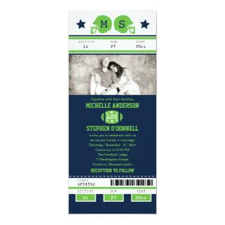 Blue and Lime Green Football Ticket Wedding Invitations