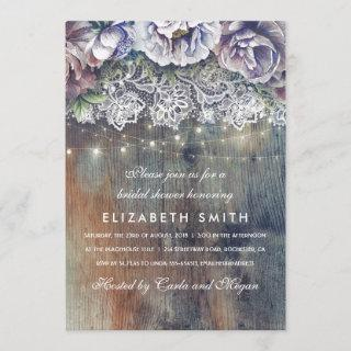 Blue and Maroon Rustic Floral Bridal Shower