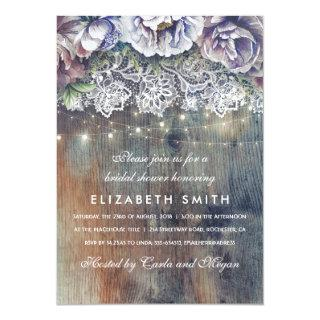 Blue and Maroon Rustic Floral Bridal Shower Invitation