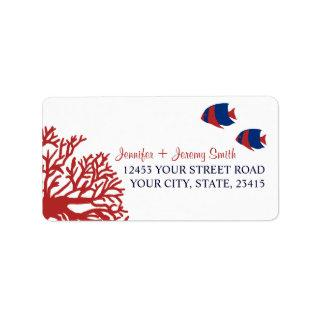 Blue and Red Tropcial Beach Address Label