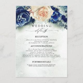Blue and Rust Colored Flowers Wedding Information Enclosure Card