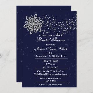 Blue and Silver Snowflake Winter Bridal shower