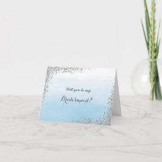 Blue and Silver Will You Be My Bridesmaid Card