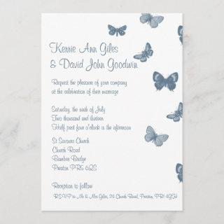 Blue and White Butterfly Wedding Invitations