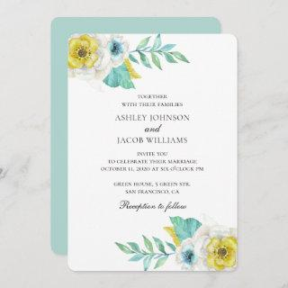 Blue and yellow flowers. Mint botanical wedding Invitations