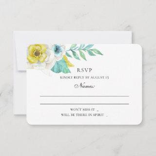 Blue and yellow flowers. Mint floral wedding RSVP Card