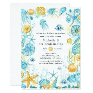 Blue and Yellow Sea Life Bridesmaids Luncheon Invitation