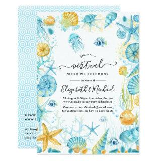 Blue and Yellow Sea Life Online Virtual Wedding Invitation